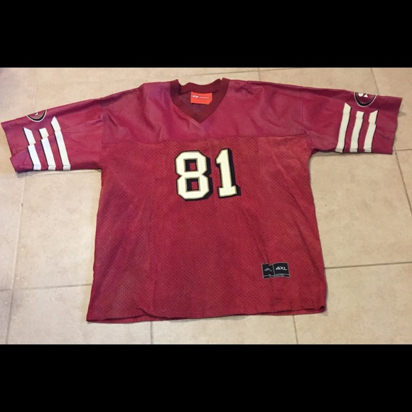 new product efbc7 e7681 Red Leather Terrell Owens 81 NFL Leather Jersey